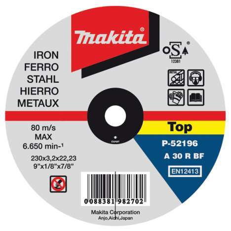 Disco abrasivo cortar metal Makita 115mm x 3.2mm