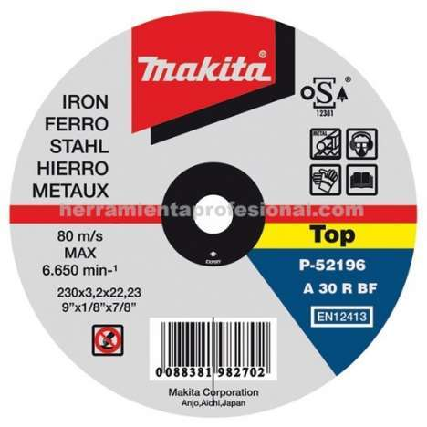Disco abrasivo cortar metal Makita 230mm x 2.5mm