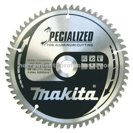 Disco Specialized aluminio 190mm Makita grosor 30mm, 60 dientes