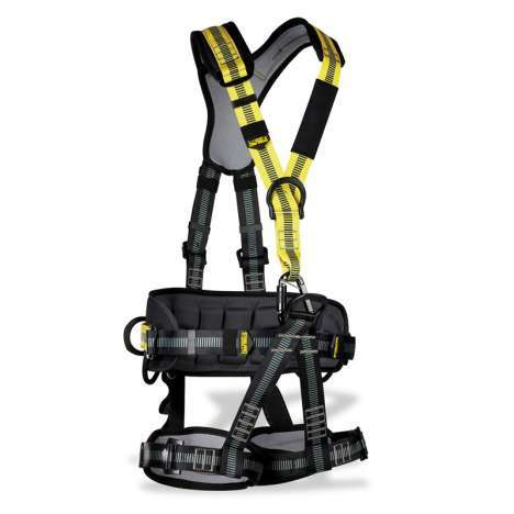 Fully adjustable full body harness in black and yellow